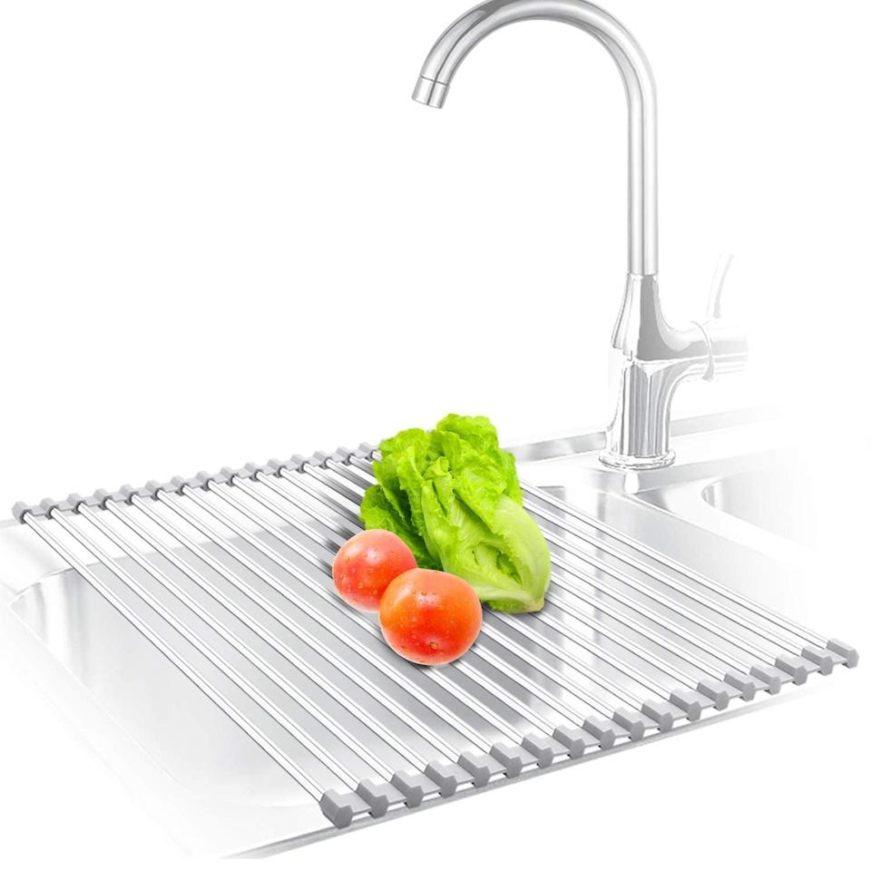 <p>Make washing fruit and vegetables so much quicker and cleaner with this <span>Kibee Dish Stainless Steel Drying Rack</span> ($19, originally $26). All you have to do is simply place it over your sink and it'll save your countertops from getting wet and messy. </p>