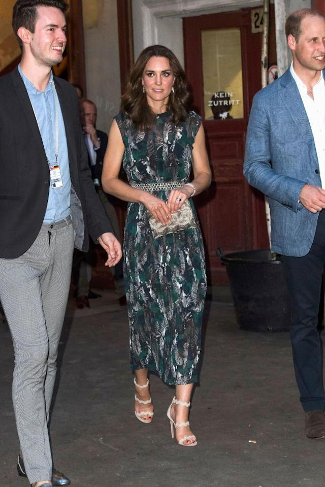 Kate wore this green Markus Lupfer dress while attending a reception at Clarchens Ballhaus dance hall following a day in Heidelberg on the second day of her royal visit to Germany. <em>(Photo: Getty)</em>