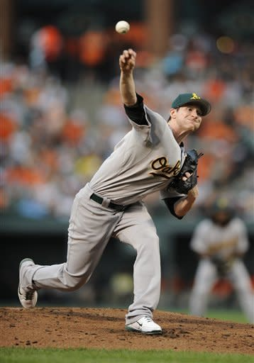 Oakland Athletics starter Jarrod Parker delivers a pitch against the Baltimore Orioles during the second inning of a baseball game, Friday, July 27, 2012, in Baltimore. (AP Photo/Nick Wass)