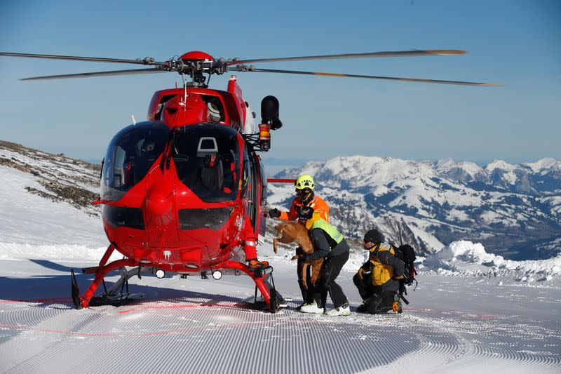 Swiss rescue teams take part in a life-saving exercise after an avalanche at the Glacier 3000 in Les Diablerets