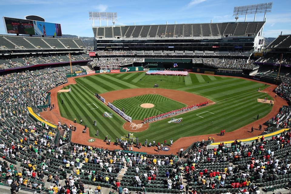 The Oakland Coliseum, home of the A's.