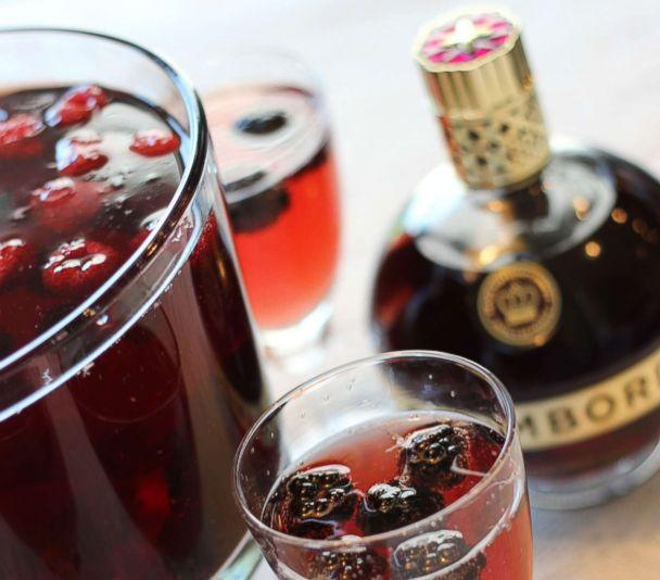 PHOTO: A sparkling Chambord and champagne cocktail with raspberries and blackberries. (Chambord)
