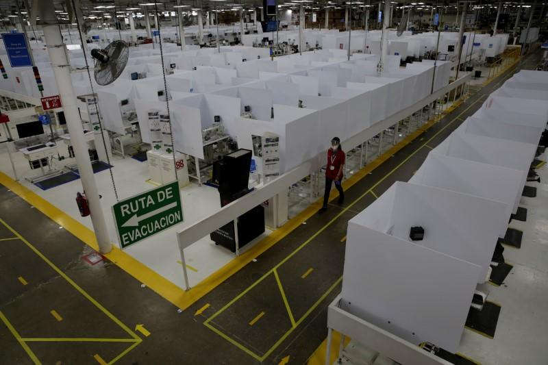 U.S. auto part maker Lear Corp. plant safety measures to resume operations during COVID-19, in Ciudad Juarez