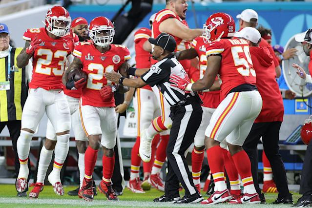 MIAMI, FLORIDA - FEBRUARY 02: Bashaud Breeland #21 of the Kansas City Chiefs celebrates after intercepting Jimmy Garoppolo #10 of the San Francisco 49ers (not pictured) during the second quarter in Super Bowl LIV at Hard Rock Stadium on February 02, 2020 in Miami, Florida. (Photo by Maddie Meyer/Getty Images)