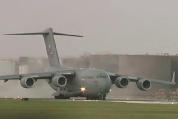Watch: Huge military plane lands on tiny runway at wrong airport