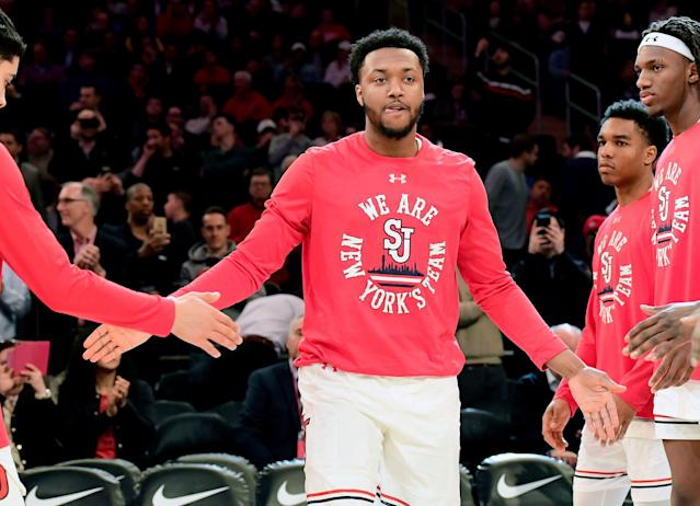 NEW YORK, NEW YORK - MARCH 13: Shamorie Ponds #2 of the St. John's Red Storm is introduced prior to the game against the DePaul Blue Demons during the first round of the 2019 Big East men's basketball tournament at Madison Square Garden on March 13, 2019 in New York City. (Photo by Steven Ryan/Getty Images)