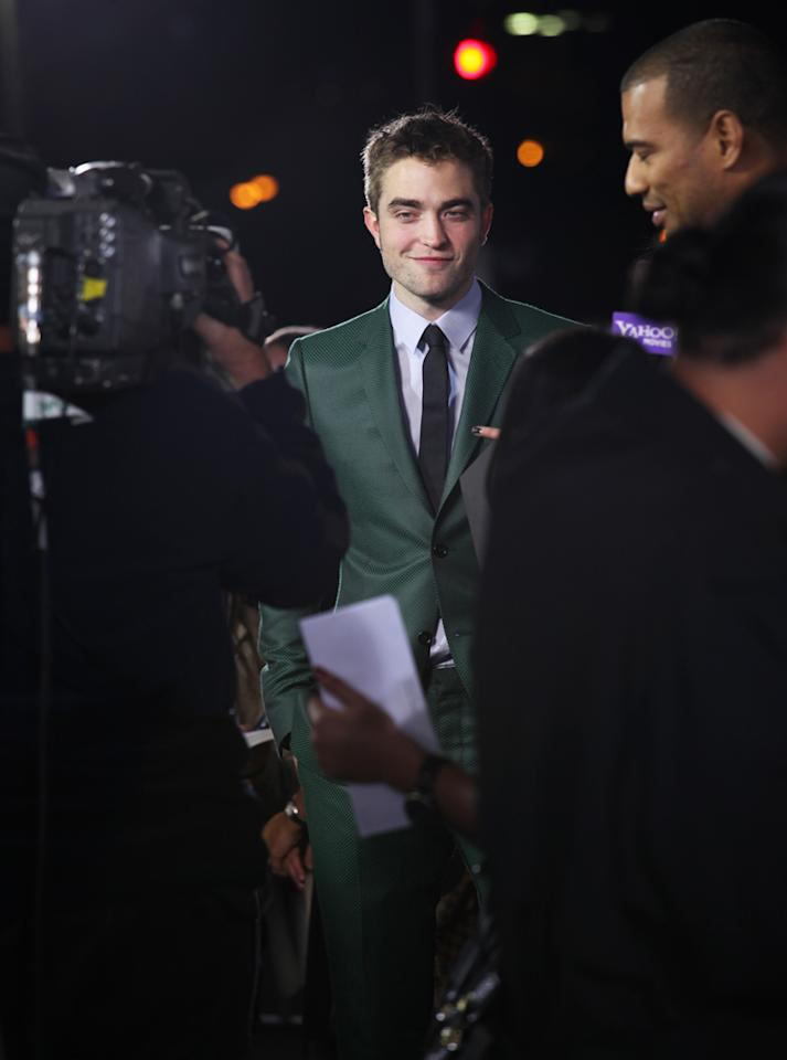 "Robert Pattinson talks to Yahoo! Movies at ""The Twilight Saga: Breaking Dawn - Part 2"" Los Angeles premiere at the Nokia Theatre L.A. Live on November 12, 2012 in Los Angeles, California."