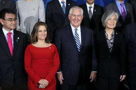 Japan's Minister of Foreign Affairs Taro Kono, Canada's Minister of Foreign Affairs Chrystia Freeland, U.S. Secretary of State Rex Tillerson and South Korean Minister of Foreign Affairs Kang Kyung-wha pose for a photo during the Foreign Ministers' Meeting on Security and Stability on the Korean Peninsula in Vancouver, British Columbia, Canada, January 16, 2018. REUTERS/Ben Nelms