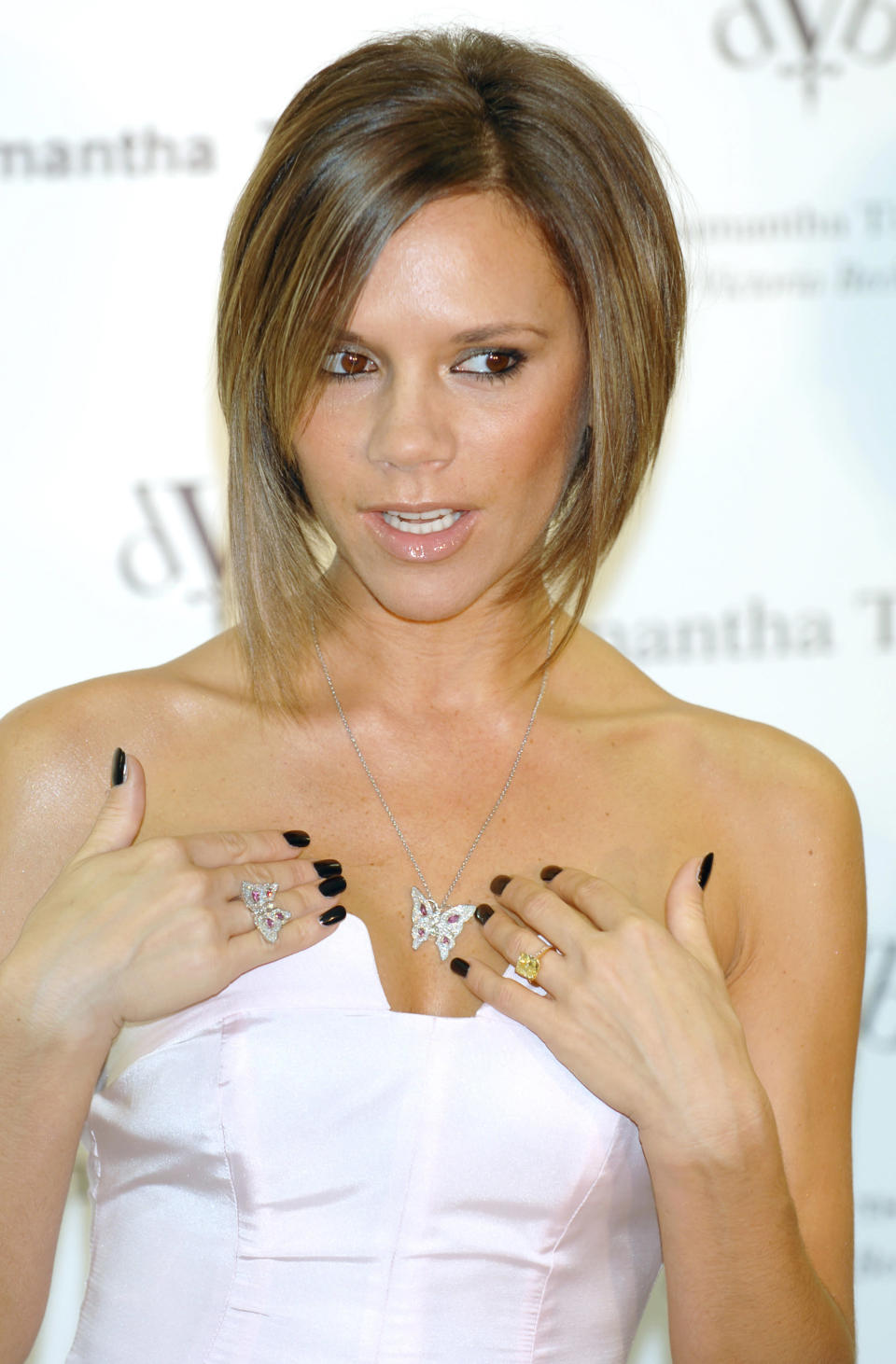 <p><strong>The specs: </strong>In 2008, VB debuted a new emerald-cut engagement ring. It was reportedly designed by Chopard and is 15 carats.<br><strong>The price:</strong> Not known.<br>[Photo: Getty] </p>
