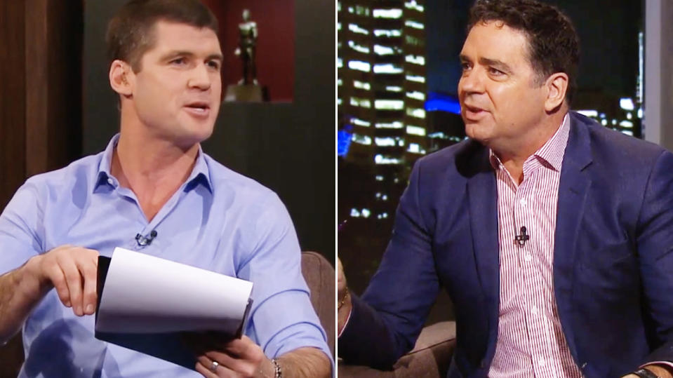 AFL greats Jonathan Brown (pictured left) pointing to a list while arguing with Garry Lyon (pictured right).