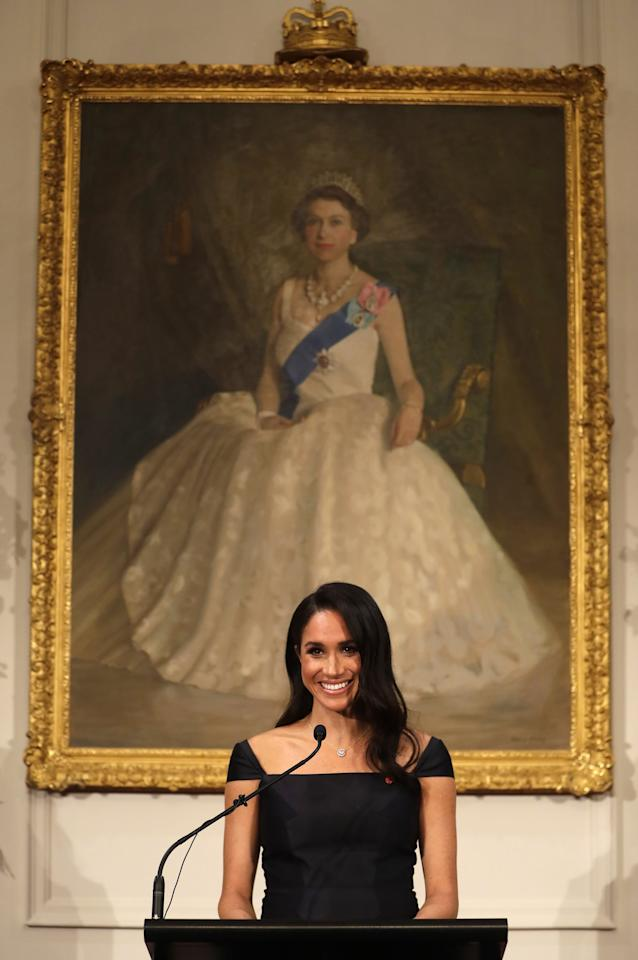 """<ul> <li>""""I love <a href=""""https://www.popsugar.com/celebrity/Meghan-Markle-Best-Speeches-45919155"""" class=""""ga-track"""" data-ga-category=""""Related"""" data-ga-label=""""https://www.popsugar.com/celebrity/Meghan-Markle-Best-Speeches-45919155"""" data-ga-action=""""In-Line Links"""">how effortless she makes public speaking</a> look. She is so elegant and well-spoken and always seems to know exactly how to answer questions, even the curveballs. I've even looked up <a href=""""https://www.popsugar.com/celebrity/Meghan-Markle-Old-Interview-Videos-45053323"""" class=""""ga-track"""" data-ga-category=""""Related"""" data-ga-label=""""https://www.popsugar.com/celebrity/Meghan-Markle-Old-Interview-Videos-45053323"""" data-ga-action=""""In-Line Links"""">years-old interviews</a> and it was true then. She makes me want to be a more articulate speaker!"""" - <em>Erin Cullum, editor, Trending and Viral Features</em> </li> <li>""""The more I've watched <a href=""""https://www.popsugar.com/celebrity/Meghan-Markle-Speech-University-South-Pacific-Video-45413518"""" class=""""ga-track"""" data-ga-category=""""Related"""" data-ga-label=""""https://www.popsugar.com/celebrity/Meghan-Markle-Speech-University-South-Pacific-Video-45413518"""" data-ga-action=""""In-Line Links"""">Meghan behind a podium</a> or on stage with mic in hand, the more I realize how much I want to be someone who can speak slowly, make eye contact, and articulate succinctly in my own public speaking endeavors. With each new speech, I take note of her diction (she enunciates so clearly!), her body language (always standing or sitting up straight, with shoulders back), and her mannerisms (like me, Meghan talks with her hands, which I love)."""" - <em>Britt Stephens, director, Celebrity and Entertainment</em> </li> <li>""""The one thing that continues to strike me about Meghan is how poised she is. She's elegant and eloquent, carries herself well, and always seems at ease, even in such a scrutinized position. <a href=""""https://www.popsugar.com/celebrity/photo-gallery/44470865/image/45312372/Meghan-First-Speech"""
