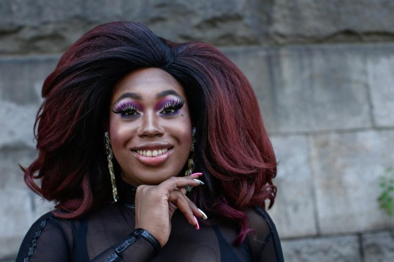 Drag queen Zarria Van Wales Powell at the Harlem Pride March in New York (AFP Photo/Kena Betancur)