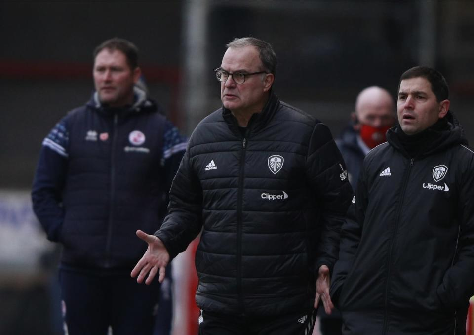 Leeds United's head coach Marcelo Bielsa reacts during the English FA Cup third round soccer match between Crawley Town and Leeds United at Broadfield Stadium in Crawley, England, Sunday, Jan. 10, 2021. (AP Photo/Ian Walton)