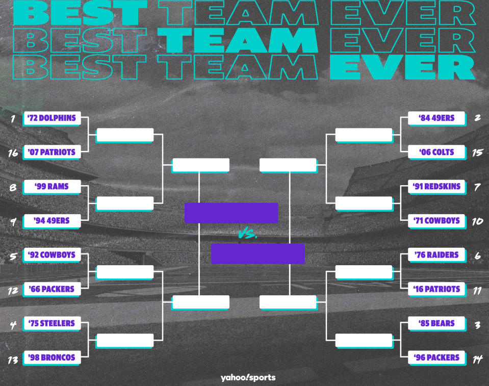 Best Teams Ever bracket: NFL edition, Round 1. (Yahoo Sports graphic)