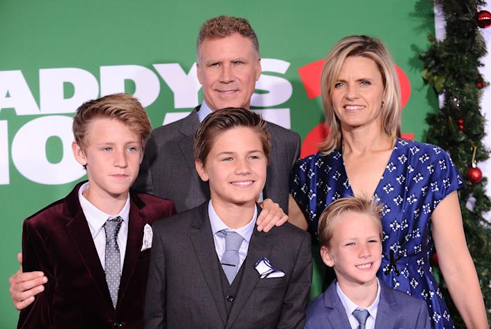 """Will Ferrell attends the premiere of """"Daddy's Home 2"""" in Los Angeles on Nov. 5, 2017, with his wife, Viveca Paulin, and sons (left to right) Magnus, Mattias and Axel. (Photo: Jason LaVeris via Getty Images)"""