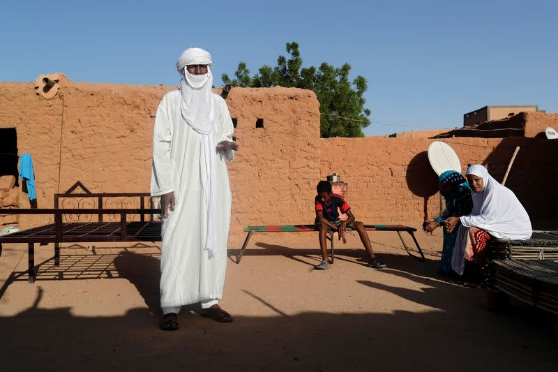 Silymane Hiyan Hiyar, 53, an ex-rebel and leading member of the peace committee, is pictured at his house's courtyard in Agadez
