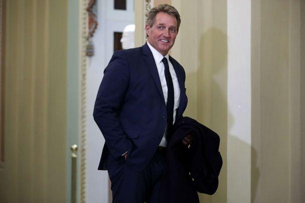 PHOTO: Former Senator Jeff Flake walks through the halls outside of the Senate Chamber during President Donald Trump's impeachment trial at the U.S. Capitol, Jan. 21, 2020 in Washington, D.C. (Chip Somodevilla/Getty Images)