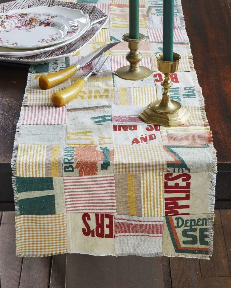 """<p>Vintage grain sacks and scraps of fabric make quite a statement when cut and sewn together in a patchwork pattern.</p><p><strong>T</strong><strong>o make: </strong>Cut 4-inch squares from grain sacks and coordinating assorted fabrics, such as gingham, stripes, and knobby linen. Layout in a patchwork pattern mixing the materials; sew together. Fringe the cut edges as desired.</p><p><a class=""""link rapid-noclick-resp"""" href=""""https://www.amazon.com/Assorted-Squares-Patchwork-Scrapbooking-Quilting/dp/B075XLMQV5/ref=sr_1_6?linkCode=ogi&tag=syn-yahoo-20&ascsubtag=%5Bartid%7C10050.g.2063%5Bsrc%7Cyahoo-us"""" rel=""""nofollow noopener"""" target=""""_blank"""" data-ylk=""""slk:SHOP FABRIC SCRAPS"""">SHOP FABRIC SCRAPS</a></p>"""