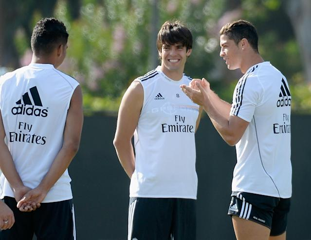 LOS ANGELES, CA - AUGUST 02: Cristiano Ronaldo (R) of Real Madrid speaks with teammates Kaka (C) and Carlos Henrique Casimiro during a training session at UCLA on August 2, 2013 in Los Angeles, California. Real Madrid will face Everton in the Guinness International Champions Cup which will be played at Dodger Stadium on Saturday. (Photo by Kevork Djansezian/Getty Images)
