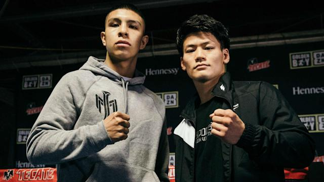 Jaime Munguia defends his WBO super welterweight title Saturday against Takeshi Inoue. (Amanda Westcott/DAZN)