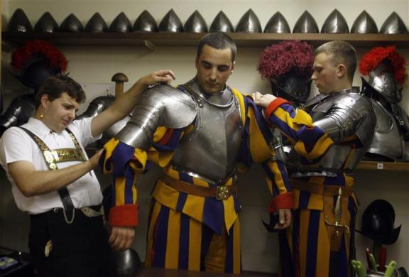New Vatican Swiss Guards prepare for their swearing-in ceremony at the Vatican May 6, 2008.