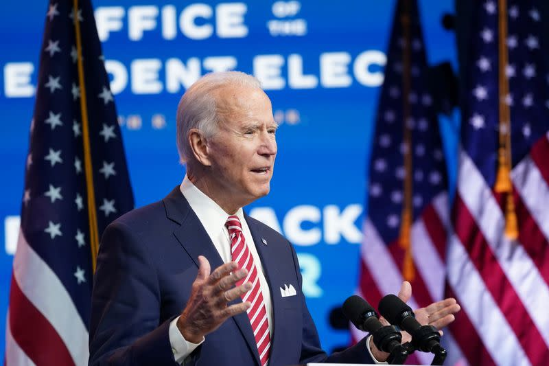 U.S. President-elect Joe Biden speaks about the U.S. economy after a briefing in Wilmington, Delaware