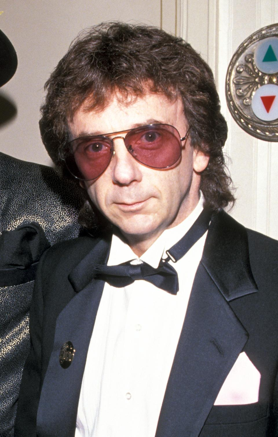 Phil Spector photographed during the Rock and Roll Hall of Fame induction ceremony in 1989. (Photo by Kevin Mazur/WireImage)