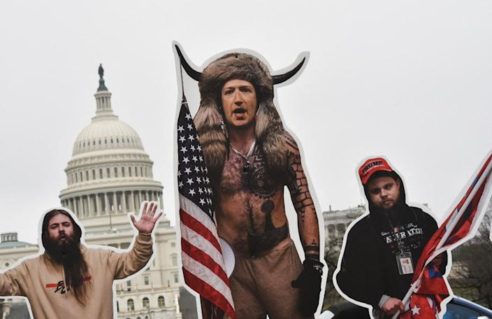 <p>File image: An effigy of Facebook CEO, Mark Zuckerberg (C), dressed as a 6 January, 2021, insurrectionist is placed near the US Capitol in Washington, DC, on25  March, 2021. Protester set up effigies of Big Tech CEO's as the US Congress holds hearings March 25 about the spread of disinformation and misinformation on their platforms</p> (AFP via Getty Images)