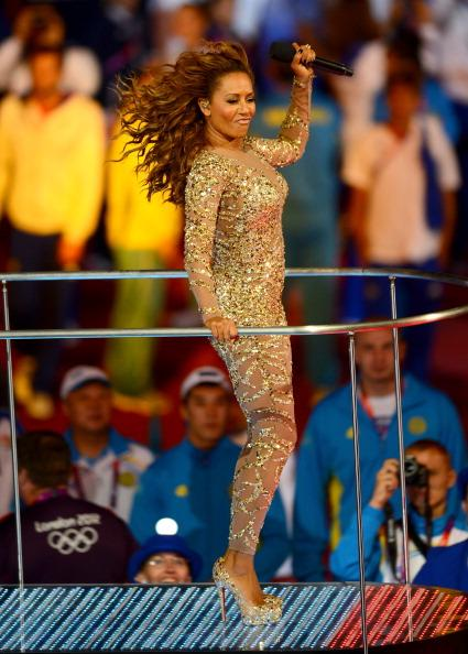 LONDON, ENGLAND - AUGUST 12:  Melanie Brown of The Spice Girls performs during the Closing Ceremony on Day 16 of the London 2012 Olympic Games at Olympic Stadium on August 12, 2012 in London, England.  (Photo by Mike Hewitt/Getty Images)