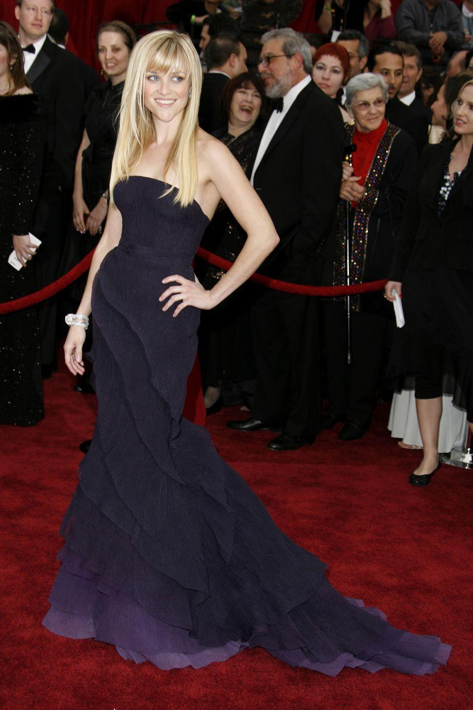 <p>Witherspoon flexed her sartorial power in this Nina Ricci gown at the 2007 Oscars</p>