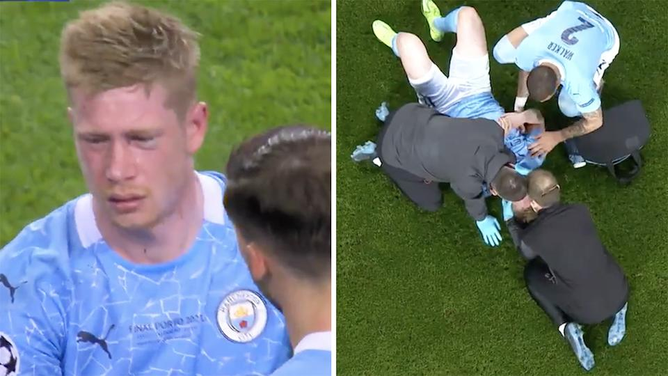Manchester City captain Kevin De Bruyne was in tears after a head knock saw him forced from the field in the second half of the Champions League final against Chelsea. Pictures: Twitter