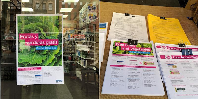 Flyers for the Pharmacy to Farm program in the window of the QuickRx Specialty Pharmacy on Manhattan's Upper West Side (left) and at the Union Square Greenmarket (right). (Photo: Courtesy NYC Department of Health and Mental Hygiene/Amanda Schupak/HuffPost)