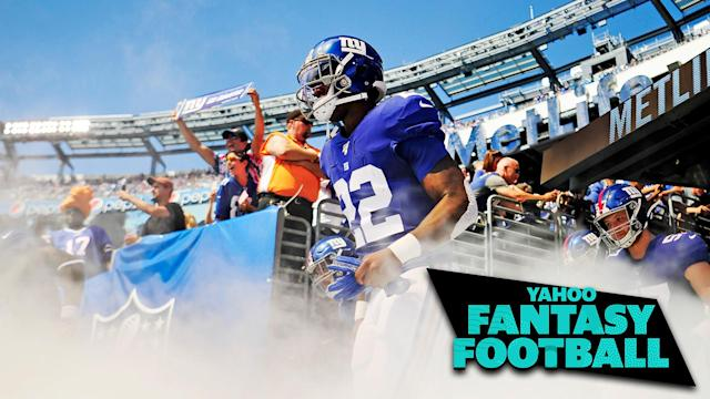 """With <a class=""""link rapid-noclick-resp"""" href=""""/nfl/teams/ny-giants/"""" data-ylk=""""slk:New York Giants"""">New York Giants</a> RB Saquon Barkley out for at least four weeks, enter Wayne Gallman to fill the fantasy hole. (Photo by Sarah Stier/Getty Images)"""