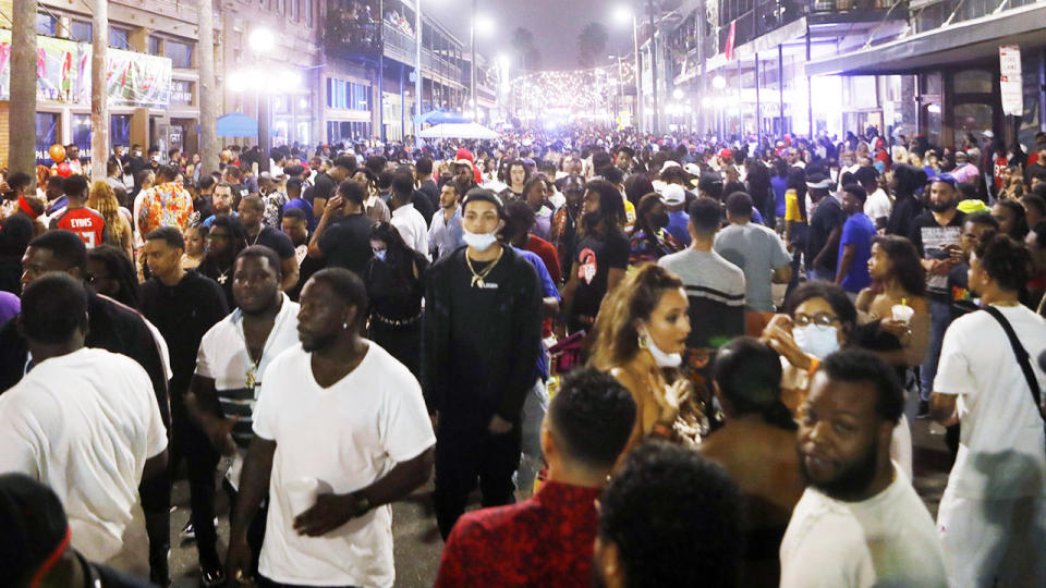 Large crowds, pictured here in the Ybor City district on the eve Super Bowl LV.