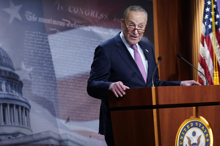 Senate Minority Leader Sen. Chuck Schumer of N.Y., speaks on Capitol Hill in Washington, Tuesday, Dec. 1, 2020. (AP Photo/Susan Walsh)