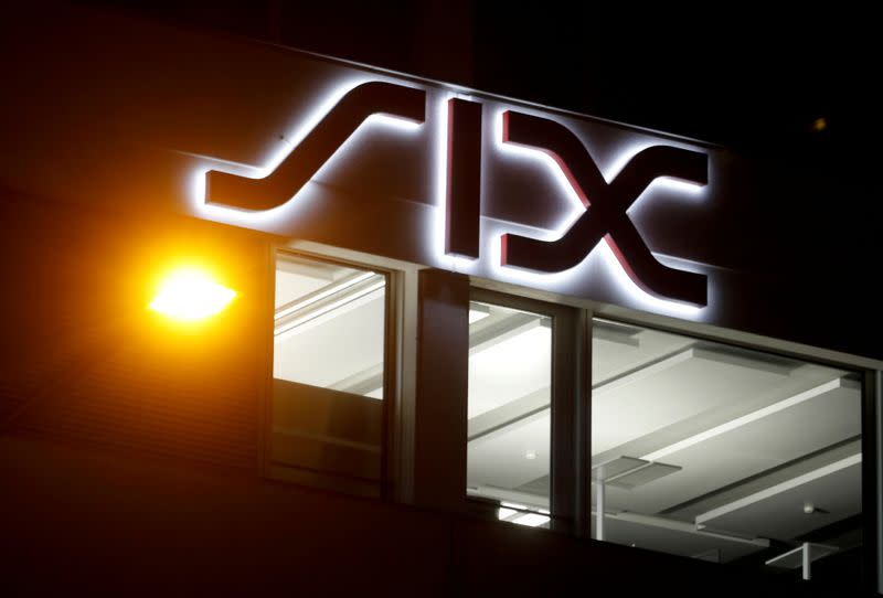 FILE PHOTO: A logo is seen at the seat of Swiss stock exchange operator SIX Group in Zurich