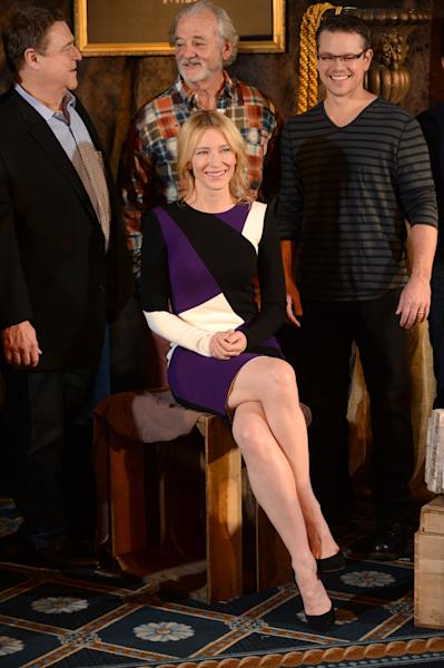 """In this Thursday, Jan. 16, 2014 photo, actress Cate Blanchett poses with cast members, rear, John Goodman, Bill Murray and Matt Damon, during a photocall for """"The Monuments Men"""" at the Four Seasons Hotel in Los Angeles. The World War II drama opens Friday, Feb 7, 2014. Based on a true story, the film is adapted from Robert Edsel's book, """"The Monuments Men: Allied Heroes, Nazi Thieves and the Greatest Treasure Hunt in History."""" (Photo by Jordan Strauss/Invision/AP)"""