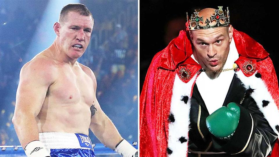 Heavyweight champion Tyson Fury (pictured right) before a fight and (pictured left) NRL great Paul Gallen in the ring.