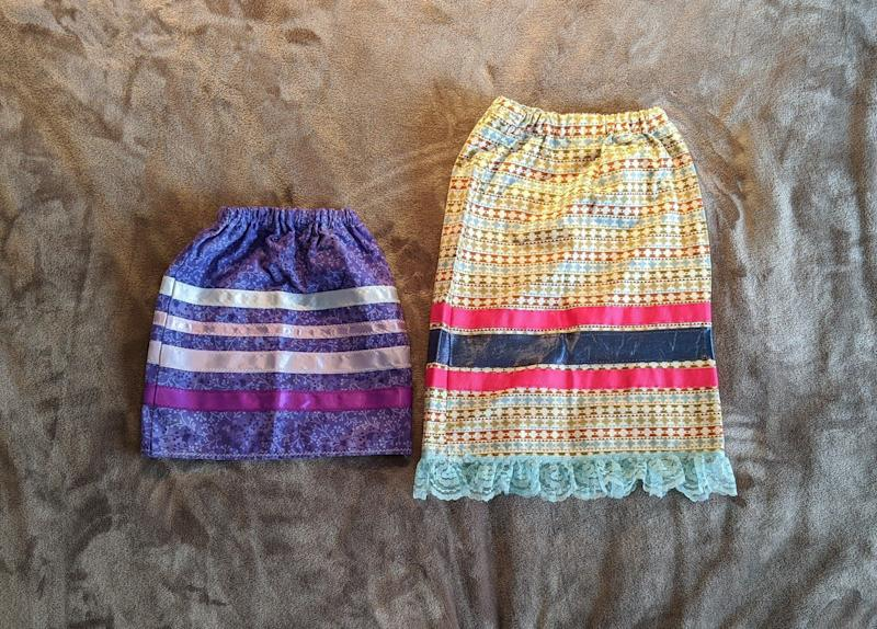 Rhea Fraser and her family are making a generous donation of several ribbon skirts to the event, including these short, small-sized ones. (Photo: Rhea Fraser)