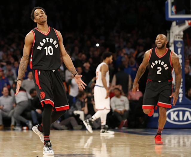 "<a class=""link rapid-noclick-resp"" href=""/olympics/rio-2016/a/1128527/"" data-ylk=""slk:DeMar DeRozan"">DeMar DeRozan</a> soaks in the life-giving nutrients packed inside the disappointment of Knicks fans. (AP)"