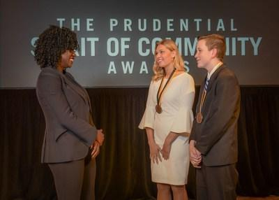 Award-winning actress Viola Davis congratulates Annika Kovar, 18, of Frazee (center) and Ryan Stoltz, 14, of Eden Prairie (right) on being named Minnesota's top two youth volunteers for 2019 by The Prudential Spirit of Community Awards. Annika and Ryan were honored at a ceremony on Sunday, May 5 at the Smithsonian's National Museum of Natural History, where they each received a $1,000 award.