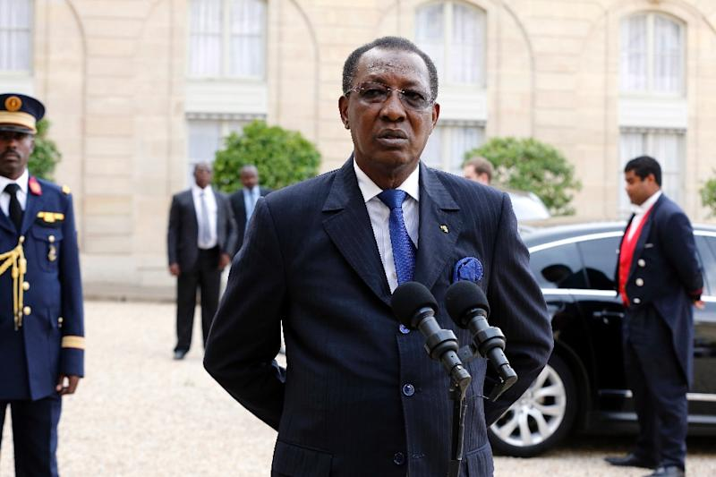 "Chad's President Idriss Deby, pictured in Paris on May 14, 2015, declared that efforts to combat neighbouring Nigeria's Boko Haram jihadists had succeeded in ""decapitating"" the group"