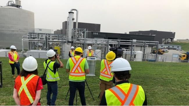 The Dufferin Organics Processing Facility in Toronto processes about 35% of the municipality's organic waste, about 55,000 tonnes annually.