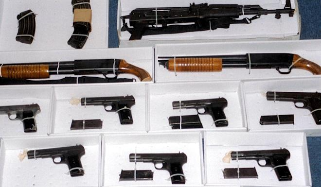 Some of the firearms seized by police in Kwai's flat. Photo: AP