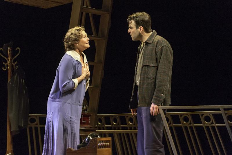 """This theater image released by Jeffrey Richards Associates shows Cherry Jones, left, and Zachary Quinto during a performance of """"The Glass Menagerie."""" There's magic from start to finish in this new production of Tennessee William's great play about regret starring a superb Cherry Jones and a revelatory Zachary Quinto. It's evocative, sometimes surreal and sublimely organic _ the perfect package for a play about faded and frayed memories. (AP Photo/Jeffrey Richards Associates, Michael J. Lutch)"""