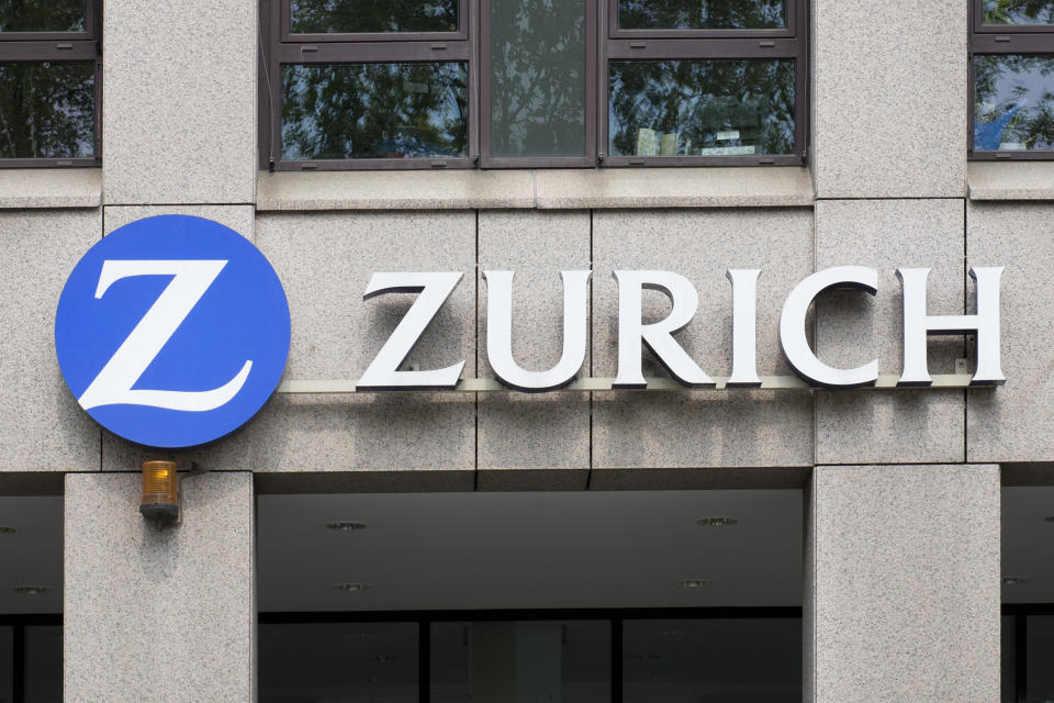 Wiesbaden, Germany - April 27, 2011: Sign of Zurich Financial Services Group on buildings facade. The Zurich Financial Services Group is one of the leading suppliers of Insurances and Risk Managements. The group was founded in 1872 and is headquartered in Zurich, Switzerland