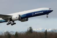 FILE PHOTO: Boeing stages the first flight of its 777X plane outside Seattle