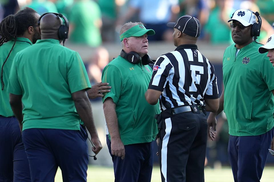 Notre Dame Fighting Irish coach Brian Kelly argues a call with the referee during a game against Purdue on Saturday. (Robin Alam/Icon Sportswire via Getty Images)