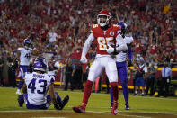Kansas City Chiefs wide receiver Marcus Kemp celebrates after catching a touchdown pass during the first half of an NFL football game against the Minnesota Vikings Friday, Aug. 27, 2021, in Kansas City, Mo. (AP Photo/Ed Zurga)