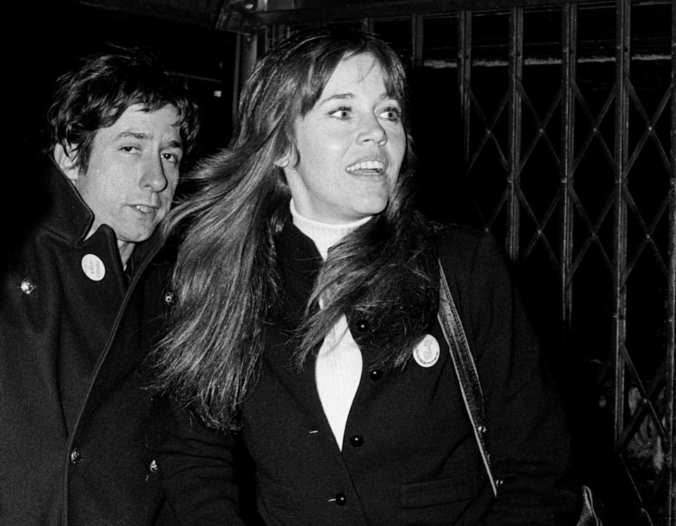 """<p>On Jan. 19, 1973, three days after officially divorcing Roger Vadim, Jane married antiwar activist and politician Tom Hayden in a casual ceremony at her home in LA. She was pregnant at the time, and that July, their son was born. Jane and Tom named their baby boy Troy O'Donovan Garity, after Viet Cong bomber Nguyen Van Troi and Irish revolutionary Jeremiah O'Donovan Rossa. They gave him his paternal grandmother's maiden name, Garity, as <a rel=""""nofollow noopener"""" href=""""https://books.google.com/books?id=9OgS6ILrV_8C&pg=PA342&lpg=PA342&dq=%22Fonda+and+Hayden+carried+too+much+baggage%22.&source=bl&ots=mEqYXDsNOg&sig=J-OcpHYtrVv2rxYG_kezM5U-_D8&hl=en&sa=X&ved=2ahUKEwjIzqmMkd7dAhW8GDQIHXE0CckQ6AEwDHoECAcQAQ#v=onepage&q=%22Fonda%20and%20Hayden%20carried%20too%20much%20baggage%22.&f=false"""" target=""""_blank"""" data-ylk=""""slk:&quot;Fonda and Hayden carried too much baggage.&quot;"""" class=""""link rapid-noclick-resp"""">""""Fonda and Hayden carried too much baggage.""""</a></p>"""